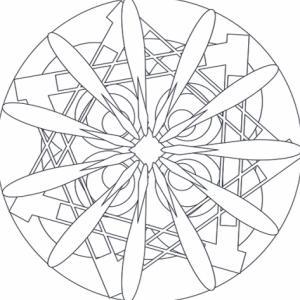 Mandala conçu comme un carreau, au centre du carreau se trouve l'étoile du mandala. Un coloriage de mandala à imprimer et à colorier.