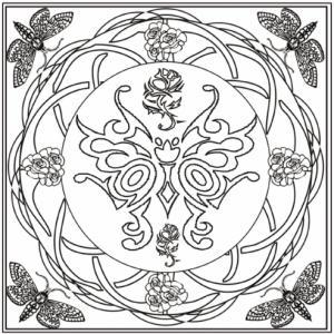Un mandala complexe composé autour d'un grand papillon. Quatre papillons de coins demanderont un peu de précision lors du coloriage.