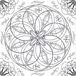 Un mandala à rosaces imbriquées les unes dans les autres à imprimer pour les plus grands