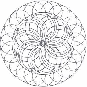 Un mandala à imprimer et à colorier, sur ce mandala les rosaces se croisent et par un effet d'optique donnent l'illusion d'un relief. La rosace centrale semble être posée en volume sur la plus grande.
