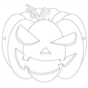 Masque d'Halloween à imprimer gratuitement afin de pouvoir le colorier et avoir un déguisement de citrouille de dernière minute. Il suffira de l'imprimer sur du papier épais, de la colorier avec des crayons de couleurs ou des feutres, de la découper afin