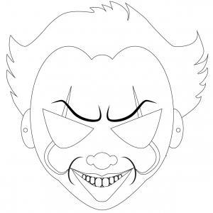 """Masque d'Halloween à imprimer gratuitement pour le colorier afin d'avoir un déguisement de clown effrayant de dernière minute inspiré de """"Ça"""". Il suffira de l'imprimer sur du papier épais, de le colorier grâce à des crayons de couleur ou des feutres et de"""