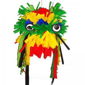Une idée de masque de tête de dragon chinois à fabriquer avec du papier crépon et du carton. La tête de dragon chinois peut être portée en masque pour le carnaval, une fêt