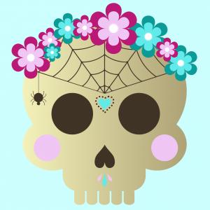 Masque d'Halloween à imprimer gratuitement afin d'avoir un déguisement de squelette de dernière minute. Il suffira de l'imprimer sur du papier épais, de la découper afin de pouvoir partir à la chasse aux bonbons !