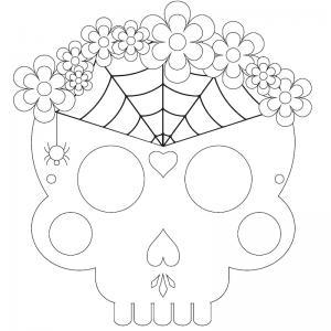 Masque d'Halloween à imprimer gratuitement pour le colorier afin d'avoir un déguisement de squelette de dernière minute. Il suffira de l'imprimer sur du papier épais, de le colorier grâce à des crayons de couleur ou des feutres et de la découper afin de p