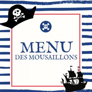 Imprimez gratuitement votre menu de Pirate pour préparer un repas sur le thème des Pirates que personne n'oubliera. Il suffira juste d'y inscrire l'entrée, le plat et le dessert : Un menu à imprimer gratuit qu'il vous faut.