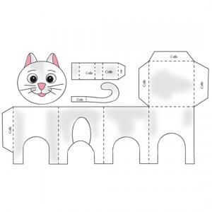 Paper toy Chat blanc à fabriquer. Un modèle de petit chat blanc aux oreilles roses à imprimer pour réaliser un paper toy en forme de chat.