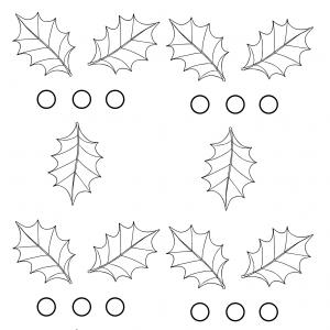Modèle de houx à imprimer pour réaliser les sets de table de Noël décorés de feuilles et de baies de houx.