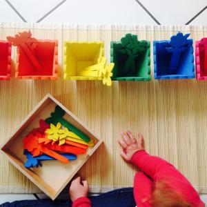 Une activité manuelle et pedagogique pour réaliser des pots de fleurs de couleur selon la méthode Montessori. Ce jeu permet de différencier les nuances de couleurs, de les associer et d'exercer la motricité fine de l'enfant.