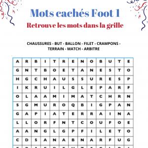 Mots cachés foot grille 1