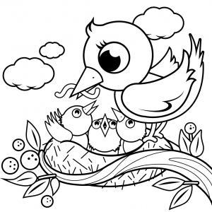 Coloriage d'un oiseau à imprimer gratuitement pour une séance de dessin sur le thème des oiseaux.