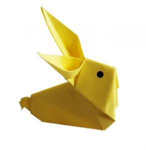 Imprimer le modèle de croquis origami du lapin . Découvrez comment réaliser un origami de lapin