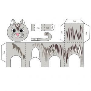 Chat tigré, un petit jouet en papier . Le modèle de chat tigré gris est à imprimer, à découper et à coller pour réaliser un jouet en papier. Ce petit chat tigr&eac