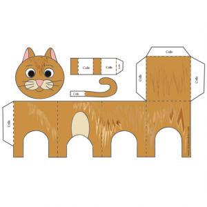 Un paper toy chat roux à imprimer. La page du paper toy peut à™tre imprimée et emportée partout. Il suffit ensuite d'une paire de ciseau et d'un peu de colle en bà¢ton pour obtenir