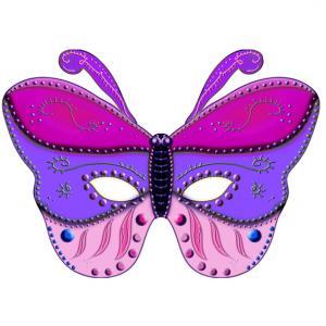 Masque de papillon à imprimer. Un masque papillon en trois couleurs dans les tons de rose et de violet. Ce masque de joli papillon est à imprimer et découper pour le plus grand plaisir de votre enfant.
