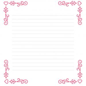 Papier à lettre rose pastel avec la fée des coeur, de l'amour et de l'amitié en médaillon