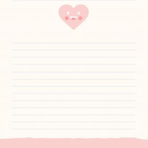 Papier à lettre de saint Valentin : Papier à lettre décoré de petits biscuits de saint Valentin