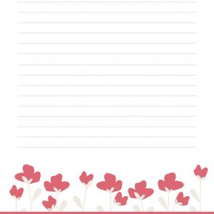 Papier à lettres Baby Doll au parapluie - papier à lettre fond rouge pastel et bordure rouge décorée de coeurs.