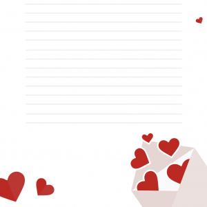 Papier à lettre rose buvard décoré de petits coeurs et d'une petite Baby Doll au parapluie
