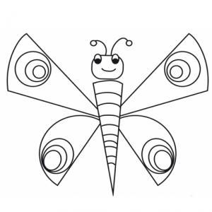 Coloriage d'un papillon très heureux ! Ce papillon vient de déployer ses ailes pour s'envoler dans les nuages ..