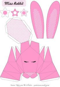 Le patron à imprimer gratuitement du lapin en origami 3D