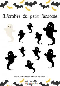 Ce gentil petit fantôme a perdu son ombre, votre enfant peut-il la retrouver ? Un jeu d'observation et de comparaison pour jouer avec les fantômes d'Halloween. Un jeu d'ombres à imprimer pour Halloween.