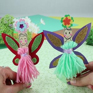 activité de bricolage enfants pour réaliser des petites fées en bâtonnets