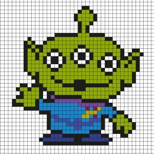 Réaliser ce beau Pixel Art de l'Alien de Toy story en prenant un quadrillage afin de reproduire les carrés colorés. Vous pourrez alors reproduire l'Alien de Toy Story.