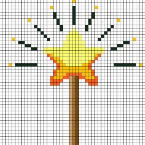 Réaliser ce beau Pixel Art en prenant un quadrillage afin de reproduire les carrés colorés. Vous pourrez alors avoir une superbe baguette de fée qui vous permettra de réaliser tous les voeux.