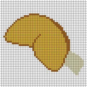 Voici un modèle de Pixel Art pour réaliser un biscuit de la chance en prenant un quadrillage afin de reproduire les carrés colorés. Pixel Art parfait pour le Nouvel An Chinois. Vous pourrez alors avoir un biscuit de la chance