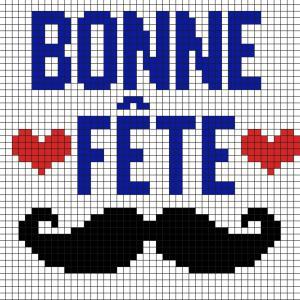 Voici un modèle de Pixel Art à imprimer gratuitement afin de l'offrir à papa pour la Fête des pères. Il aura ainsi un joli message et une jolie moustache. Il vous suffira de prendre du papier quadrillé et de suivre notre modèle carré après carré.