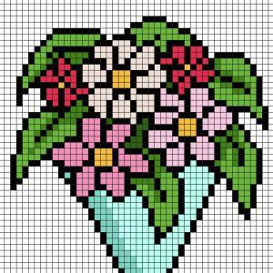 Cette année, pour la Fête des mères, offrez  un joli bouquet en Pixel Art à votre maman Imprimez gratuitement  notre modèle simple qui vous permettra de créer facilement une rose pour maman en Pixel Art. Il vous suffira de prendre du papier quadrill