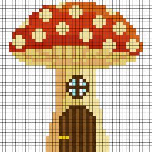 Fabriquez ce beau Pixel Art de champignon, maison de fée en prenant un quadrillage afin de reproduire les carrés colorés. Vous pourrez alors avoir une superbe fée clochette qui vous permettra de réaliser tous les voeux.