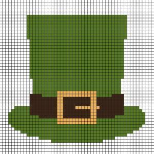 Fabriquez ce beau Pixel Art de cchapeau de Leprechaun. Une véritable trace du passage d'un Leprechaun de Saint Patrick. Prenez un quadrillage afin de reproduire les carrés colorés. Vous pourrez alors avoir un superbe souvenir, ce véritable chapeau de