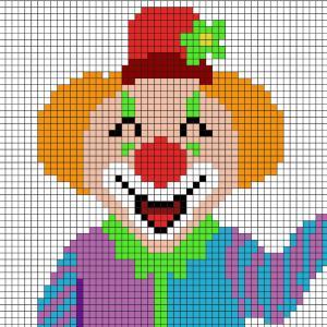 Comment faire un pixel art en forme de clown ? Il suffit de suivre notre modèle afin de réaliser chaque carré. Petit à petit vous arriverez à réaliser ce clown parfait pour le Carnaval ou pour MArdi Gras ! Imprimez rapidement notre grille quadrillée et me