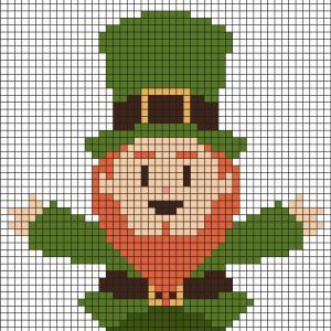 Fabriquez ce beau Pixel Art Leprechaun de Saint Patrick en prenant un quadrillage afin de reproduire les carrés colorés. Vous pourrez alors avoir un superbe leprechaun qui fêtera la Saint Patrick avec vous..