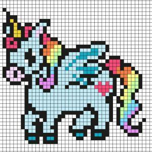 Réaliser ce beau Pixel Art en prenant un quadrillage afin de reproduire les carrés colorés. Vous pourrez alors avoir une belle licorne aux cheveux arc-en-ciel qui sera très heureuse de décorer la maison.