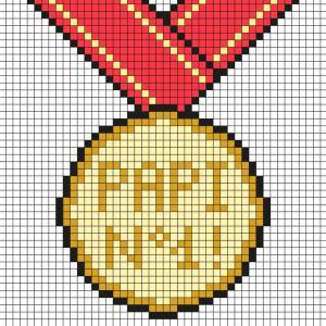 Voici un modèle de Pixel Art à imprimer gratuitement afin de l'offrir à papi pour la Fête des grands pères. Il aura ainsi une belle médaille pour montrer que c'est le meilleur papi. Il vous suffira de prendre du papier quadrillé et de suivre notre modèle