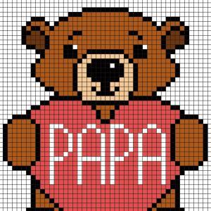 Ce modèle de Pixel Art représente un ourson qui tient un coeur écrit Papa. Ce modèle est à imprimer gratuitement. Il vous suffira ensuite de prendre du papier quadrillé et de suivre notre modèle carré après carré.