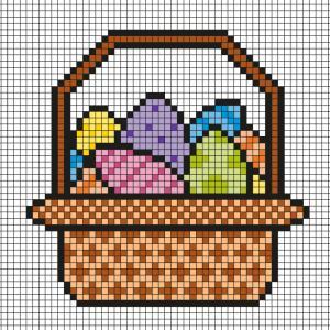 Ce modèle de Pixel Art vous permettra de réaliser un décor de Pâques avec ce panier plein d'oeufs en chocolat. Il vous suffira de prendre une feuille quadrillée ou d'imprimer notre grille afin de pouvoir reproduire chaque carré coloré.
