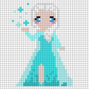 Réaliser ce beau Pixel Art de la Princesse Elsa de la Reine des neiges en prenant un quadrillage afin de reproduire les carrés colorés. Vous pourrez alors reproduire Elsa pour le plus grand bonheur des petits et des grands.