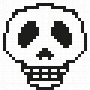Comment faire un pixel art ? Tout simplement en suivant notre modèle à imprimer gratuitement. Imprimez notre quadrillage et reproduisez la Tête de mort pour créer de la décoration d'Halloween. Simple et rapide à faire !