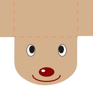 Un modèle prêt à imprimer et tout en couleur d'une pochette renne de Noël. Un modèle de pochette de Noël en forme de renne à imprimer et  à coller pour décorer et offrir de petits cadeaux et friandises à Noël. Le modèle de pochette renne peut