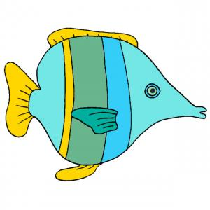 Une image de poisson bleu à bande jaune à imprimer pour les jeux d'enfants ou pour les farces du premier avril.