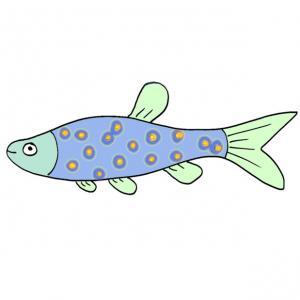 Un poisson long de couleur bleue à tà¢ches jaunes à imprimer pour le 1er avril. Une image de poisson du 1 er avril.