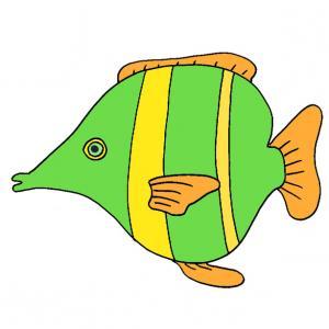 Image d'un poisson vert et jaune à imprimer pour les farces du 1 er avril, un poisson à imprimer, à découper et à accrocher dans le dos des autres pour faire des farces