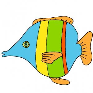 Ce poisson du poisson d'avril est multicolore, il est à imprimer pour les farces du premier avril des enfants. Une image de poisson à imprimer pour le 1er avril et son cortège de farces
