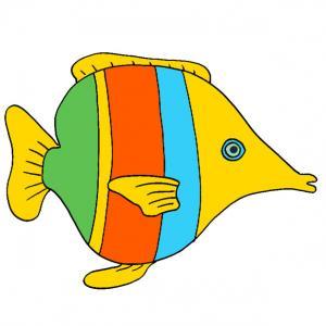 Une image de poisson à rayures de toutes les couleurs à imprimer pour les amusements d'enfant. Une image des poisson d'avril à rayures de différentes couleurs pour le 1 er avril.