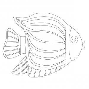 Une grande image de poisson à imprimer pour le 1 er avril - Poisson jaune et noir à rayures.