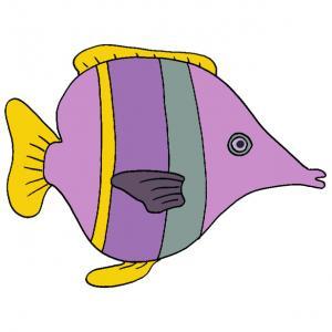 Cette image de poisson mauve est à imprimer pour les amusements et les farces du 1 er avril. Un poisson d'avril à imprimer